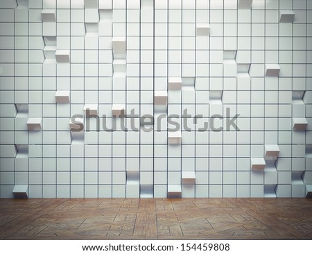 abstract interior with decorative 3d wall