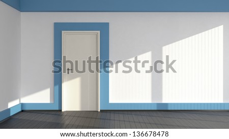 abstract interior with door and laminate flooring - stock photo