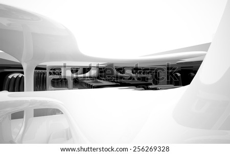 Abstract interior with glossy black sculpture - stock photo