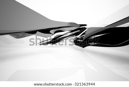 Abstract interior with glossy black sculpture. 3D illustration. 3D rendering - stock photo