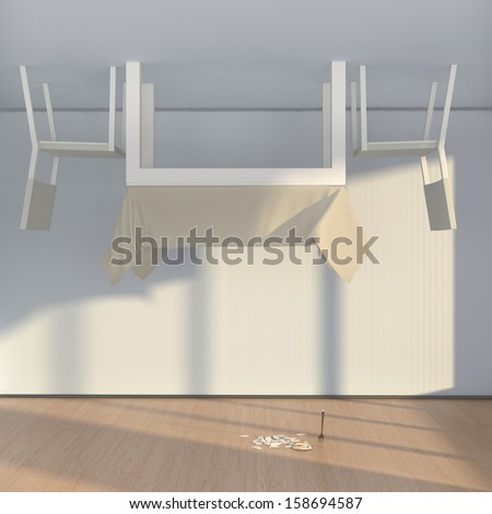 abstract interior with table, chairs and fried egg, lying down on the floor