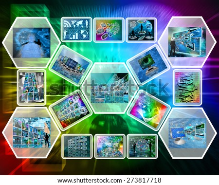 Abstract internet perspective of a plurality of images on the theme of high technology  - stock photo