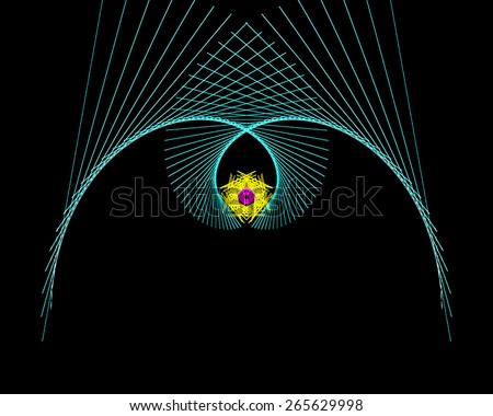Abstract intersecting lines with a flower inside on a black background - stock photo