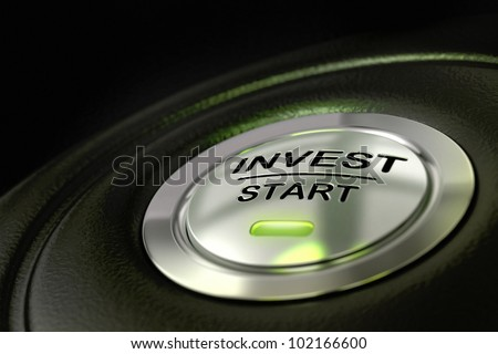 abstract invest start button, metal material, green color and black textured background. Focus on the main word and blur effect. Investment concept - stock photo