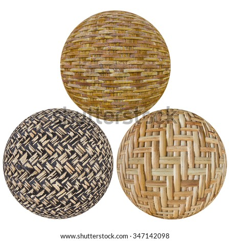 Abstract isolated ball made of bamboo basketry, all three of which are somewhat different in detail.
