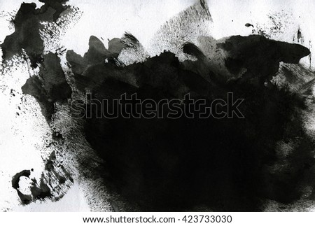 Abstract isolated black ink stain.