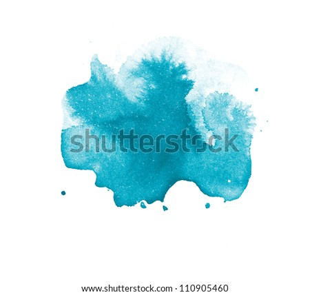 Abstract isolated turquoise watercolor stain - stock photo