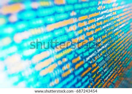 Abstract IT technology background.  PC software creation business. Abstract screen of software. Big data database app. Developer working on websites codes in office. Webdesigner Workstation.