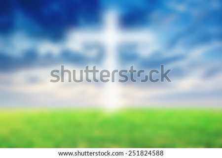 Abstract Jesus on the cross blue sky - stock photo