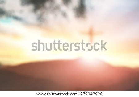 Abstract Jesus on the cross over sunset. Christmas background, Worship, Forgiveness, Mercy, Humble, Repentance, Reconcile, Adoration, Glorify, Peace, Eucharist, Pentecost concept. - stock photo