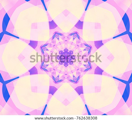 Abstract kaleidoscope pastel background. Beautiful illustration. Bright flower. Seamless pattern.