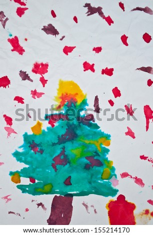 Abstract kid's painting of Christmas tree with gifts - stock photo