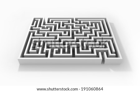 Abstract labyrinth on white background - stock photo