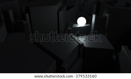 abstract labyrinth with bright glow sphere, finding way of problem solving concept