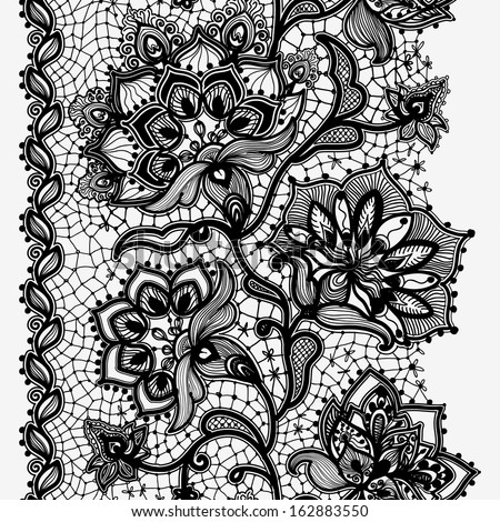 Abstract lace image. Pattern with elements flowers and leaves - stock photo