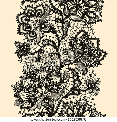 Abstract lace ribbon seamless pattern with elements flowers.  - stock photo
