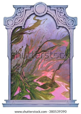 Abstract landscape framed with a stone decorated hand drawn arch - stock photo
