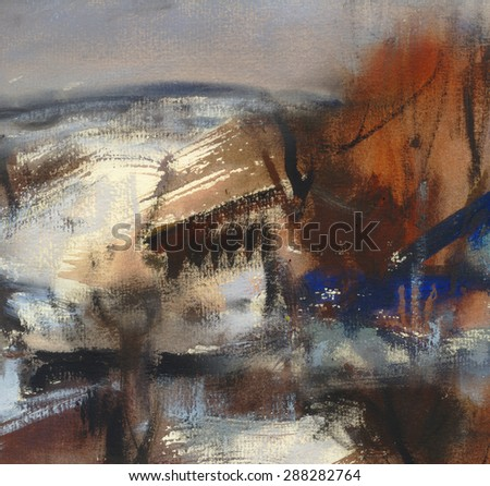 Abstract landscape in brown and blue colors, watercolor artistic background