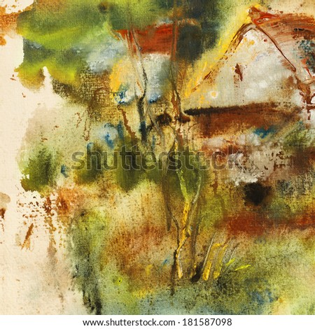 Abstract Landscape painting on handmade paper, art background        - stock photo