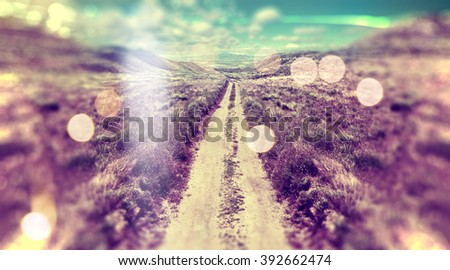 Abstract landscape scenery.Path and sunset - stock photo