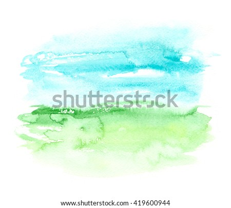 Abstract landscape view with green field and bright blue sky painted in watercolor on white isolated background - stock photo
