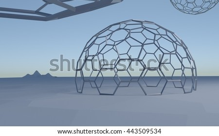 abstract landscape with hexagone spheres in blue colors 3d illustration - stock photo