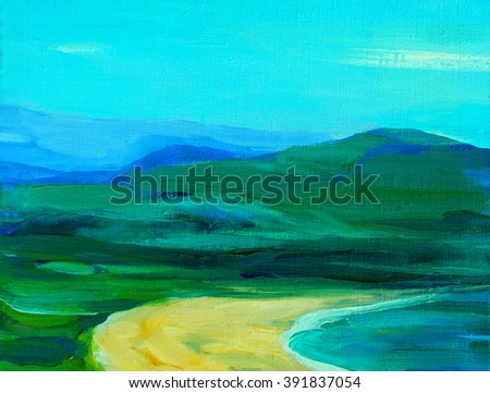 abstract landscape with mountains and sea, illustration - stock photo