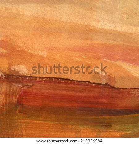 ABSTRACT LANDSCAPE WITH ORANGE SKY AND BROWN HORIZON - stock photo