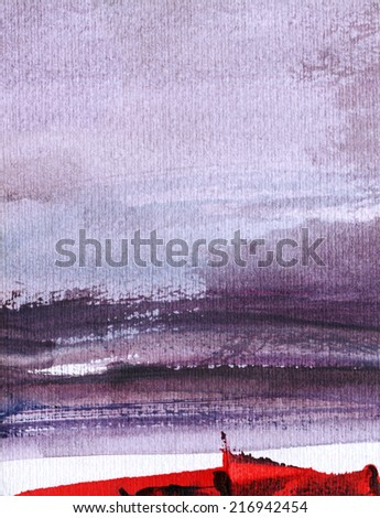 ABSTRACT LANDSCAPE WITH VIOLET SKY AND WHITE AND RED HORIZON - stock photo