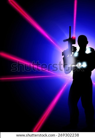 Abstract laser tag poster or flyer background with empty space - stock photo