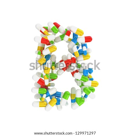 abstract letter B consisting of pills