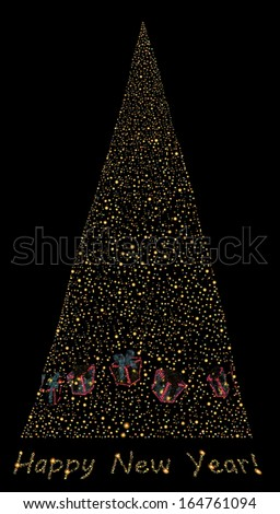 Abstract light and glow christmas tree on black background