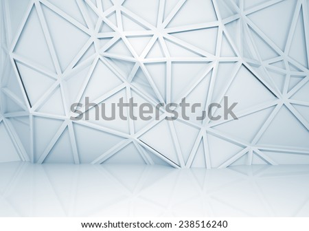 Abstract light blue 3d interior with polygonal relief pattern on the wall - stock photo