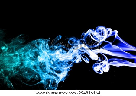 Abstract Light blue smoke on black background, Light blue background,Light blue ink background
