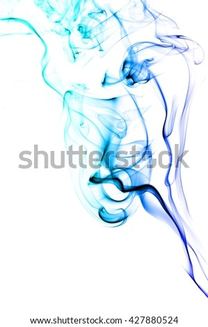 Abstract Light blue smoke on white background, Light blue background,Light blue ink on white background