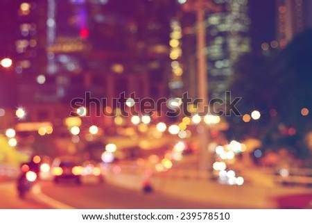 Abstract light bokeh on street - stock photo