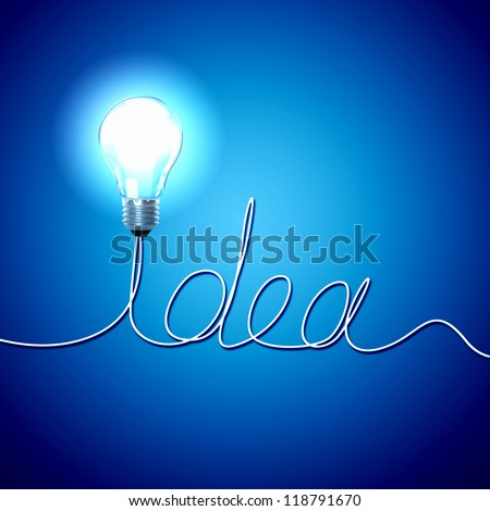 Abstract Light Bulb with the word Idea on blue background. - stock photo