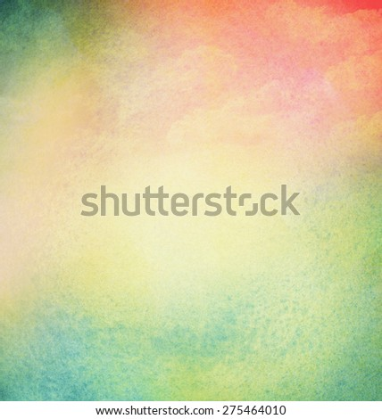 Abstract light colorful watercolor background with cloud. Spring, summer theme - stock photo