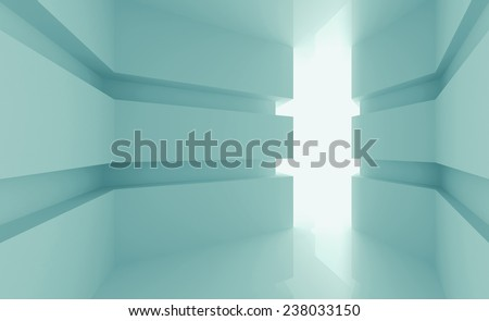 Abstract light green empty room interior with glowing doorway. 3d render illustration - stock photo