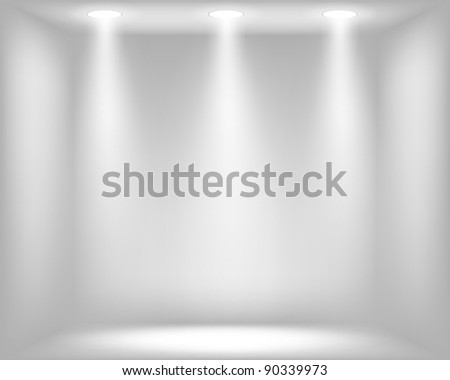 Abstract light grey background with spotlights. Raster copy of vector illustration - stock photo