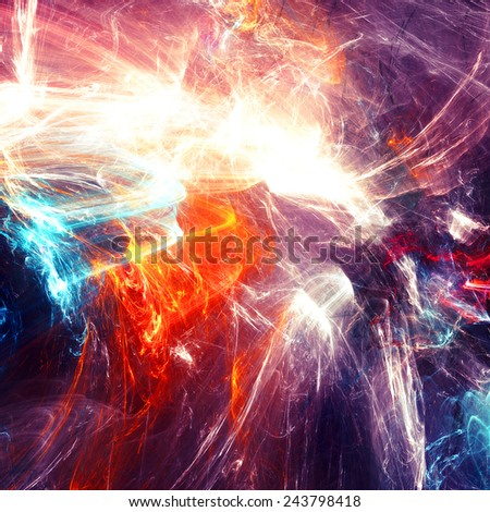 Abstract light neon flare. Glowing futuristic dynamic color background with lighting effect for creative design. Shiny decoration for wallpaper desktop, poster, cover booklet, flyer. Fractal art - stock photo