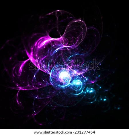Abstract light neon trail. Magic color swirl background on black. Digital artwork for creativity design. Fractal art. - stock photo