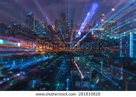 Abstract light of Bangkok city - stock photo