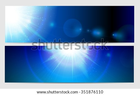 Abstract Light on Blue Background Illustration  - stock photo