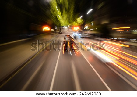 abstract light trails on the street