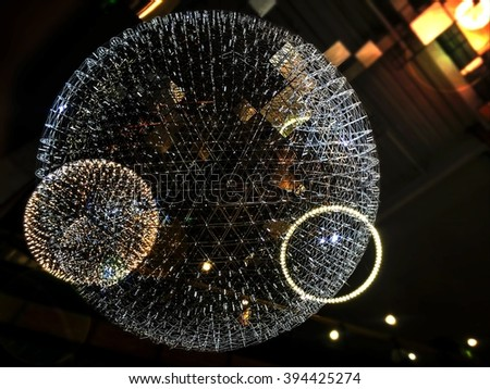 abstract lights ball with blur and vignette background