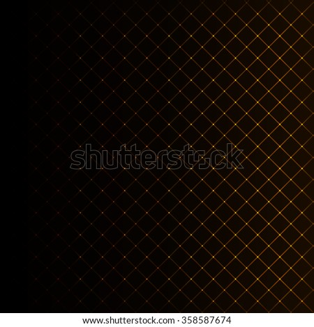 Abstract lights gold strips on dark background - stock photo