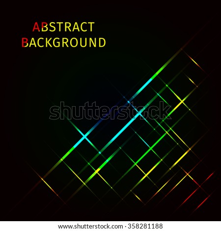 Abstract lights gradient strips on dark background - stock photo