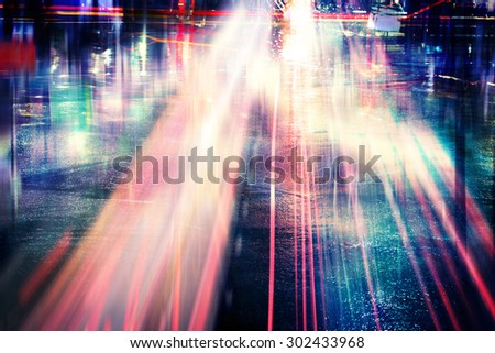 Abstract Lights Trails,Streaks Lights on Traffic Road Concept Background - stock photo