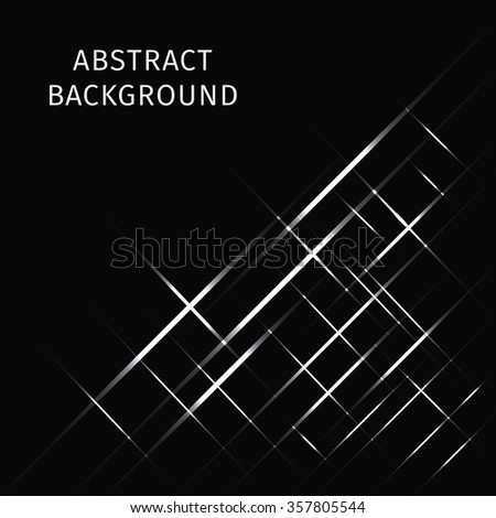 Abstract lights white strips on dark background - stock photo